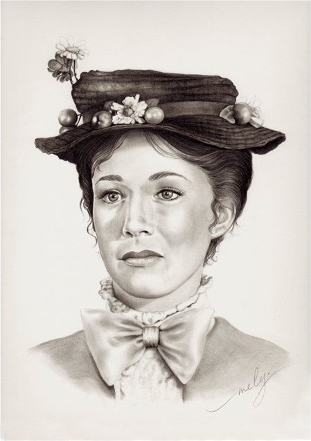 Mary Poppins, portrait au crayon